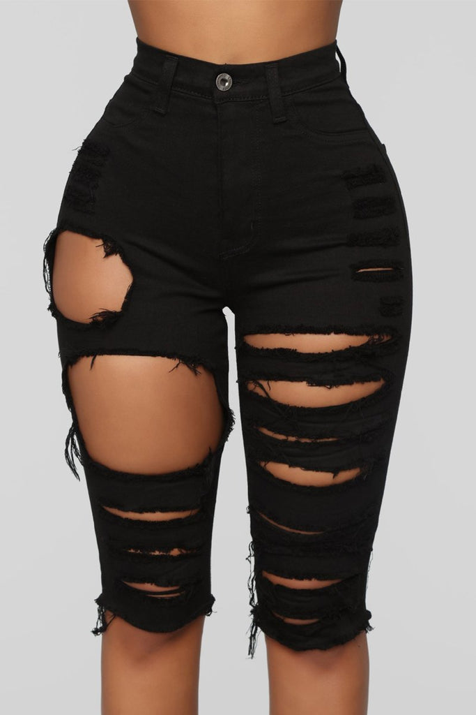 High-elastic Distressed High Wasit Denim Shorts