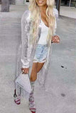 Sequin Long Sleeve Coat With Tassels Without Belt
