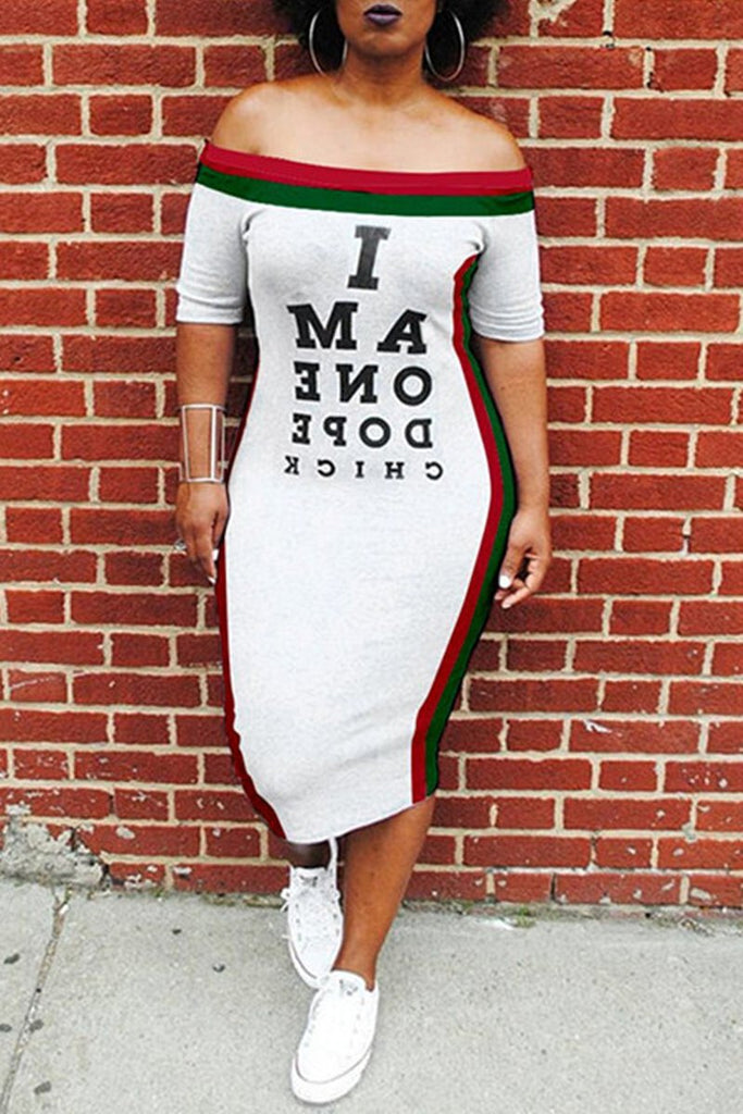 Side Striped Letter Print Plus Size Midi Dress