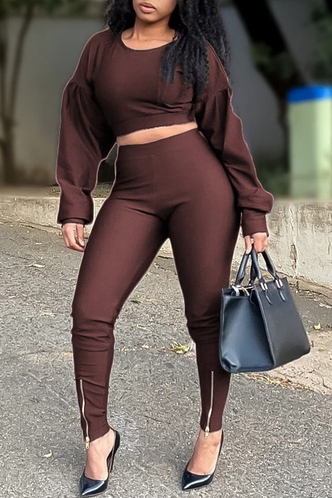 Puff Sleeve Zipper Up Solid Two Piece Sets