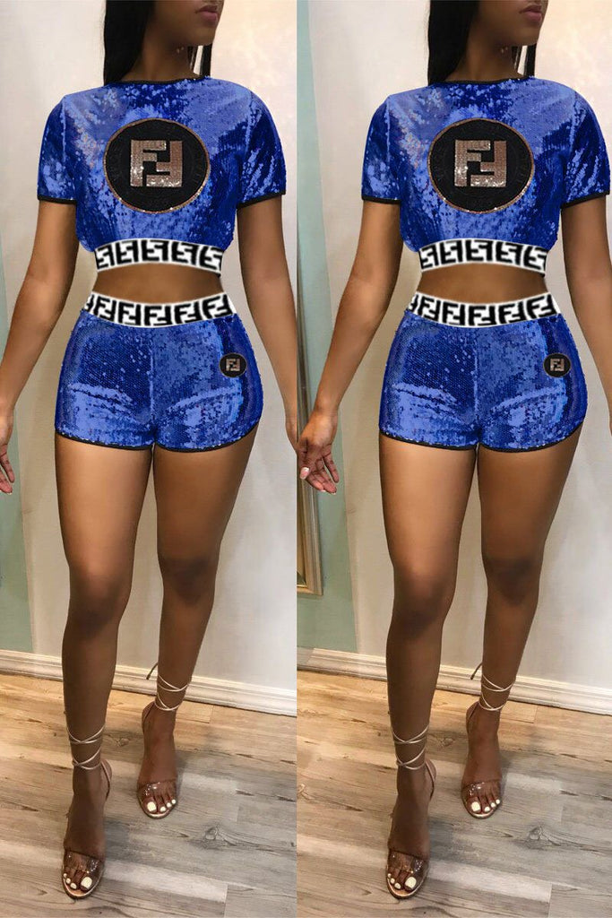 Sequin Embroidered Letter Short Sleeve Two Piece Sets