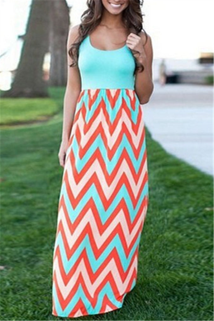 Sleeveless Patchwork Striped Maxi Dress
