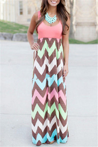 Sleeveless Patchwork Striped Maxi Dress фото