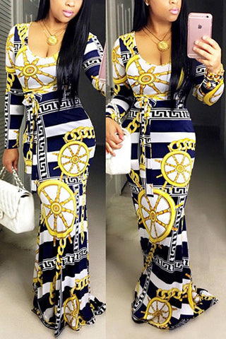 Nautical Print Maxi Dress фото