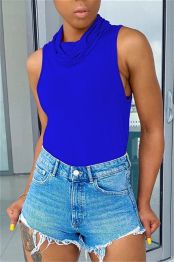 Solid Color Sleeveless High Neck Mask T Shirt