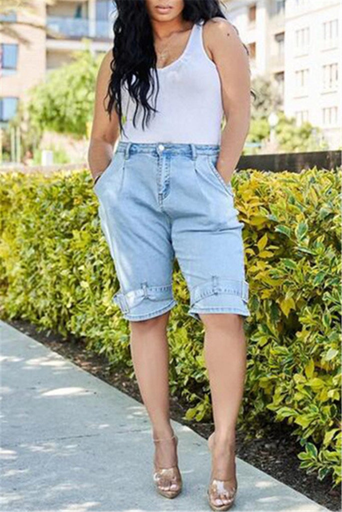 Denim High Waist Pocket Shorts