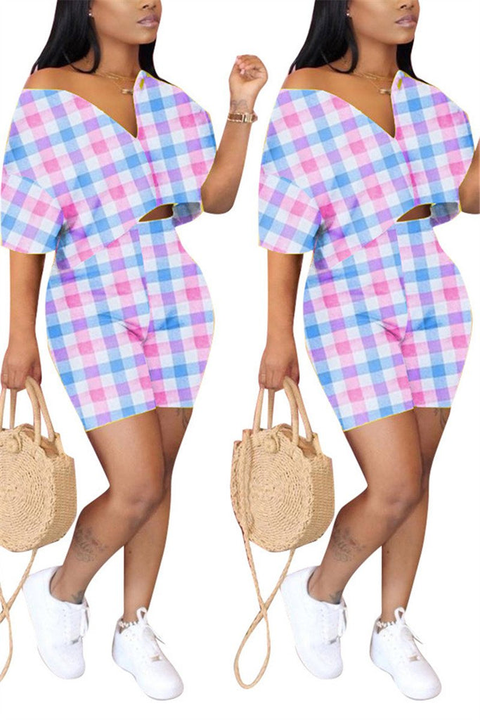 Tartan Plaid Short Sleeve Casual Two Piece Sets