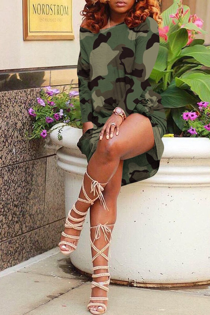 Skew Neck Camouflage Print Knotted Dress