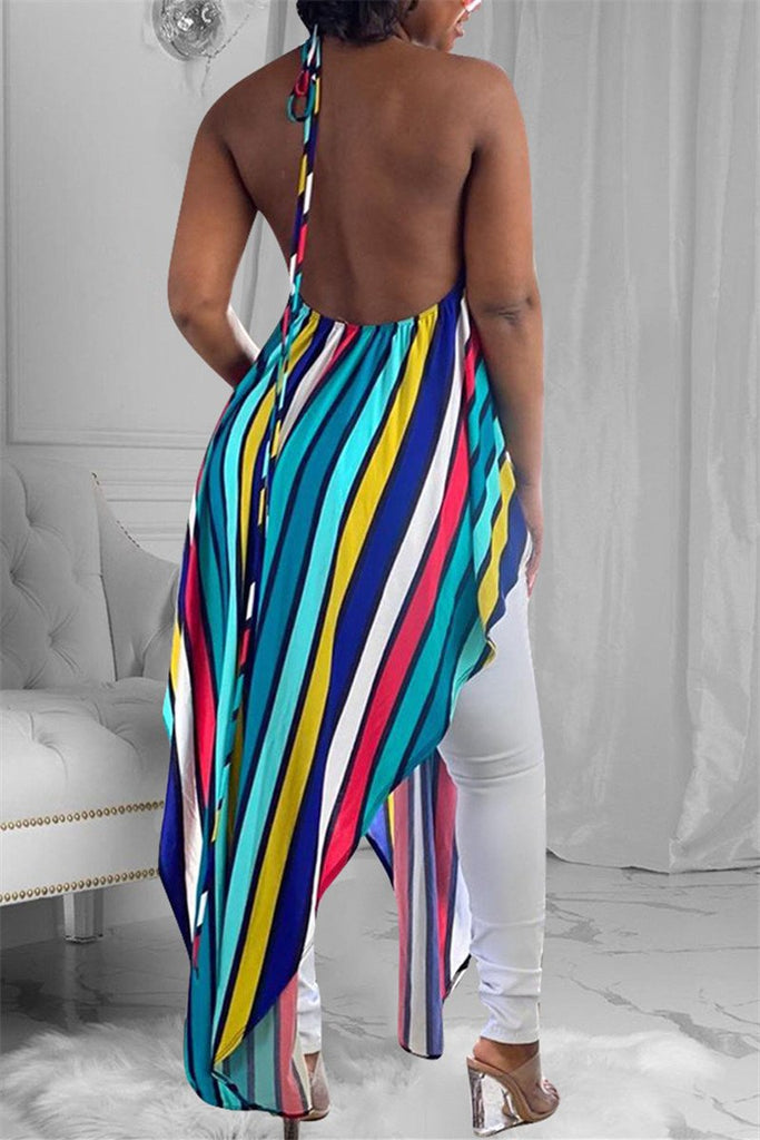 Open Back Stripe Print Asymmetric Top