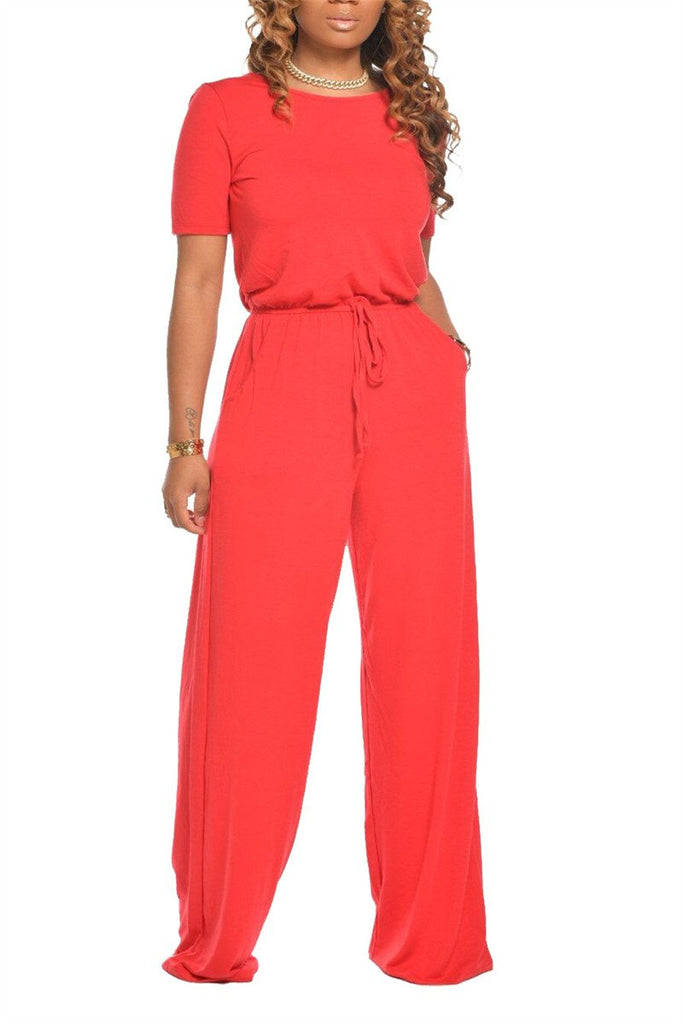 Solid Color Drawstring Waist Casual Jumpsuit
