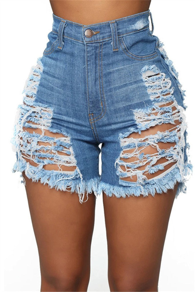 Hole Distressed High Waist Plus Size Denim Shorts