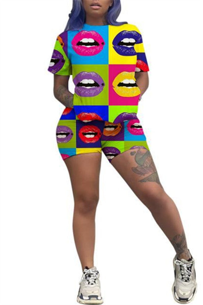 Colorful Lip Print Short Sleeve Top & Shorts