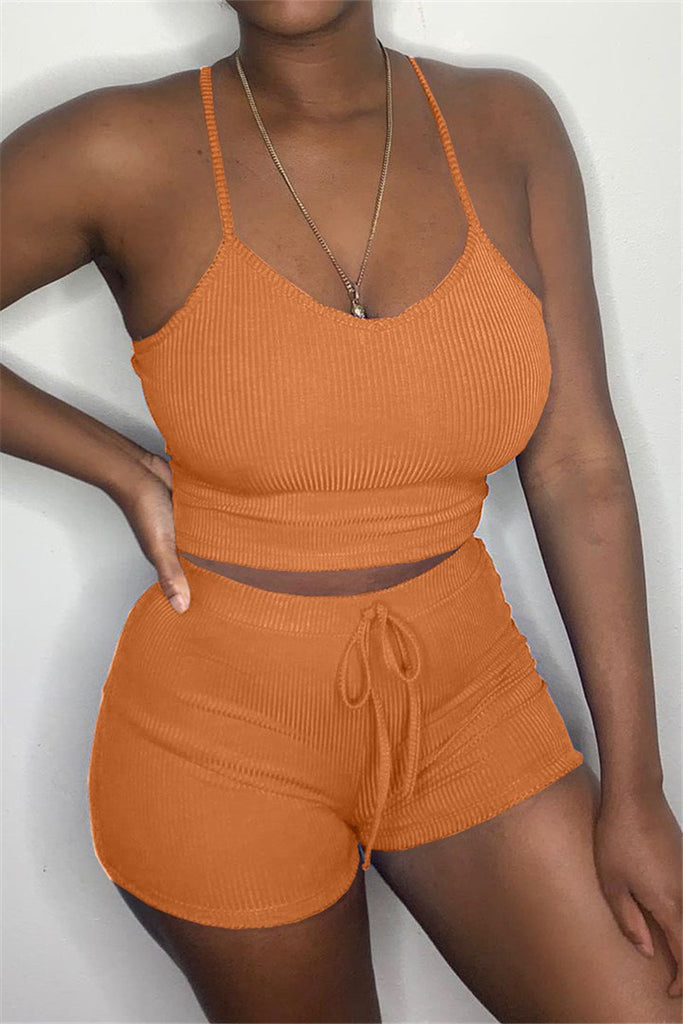 Spaghetti Straps Solid Color Drawstring Top & Shorts