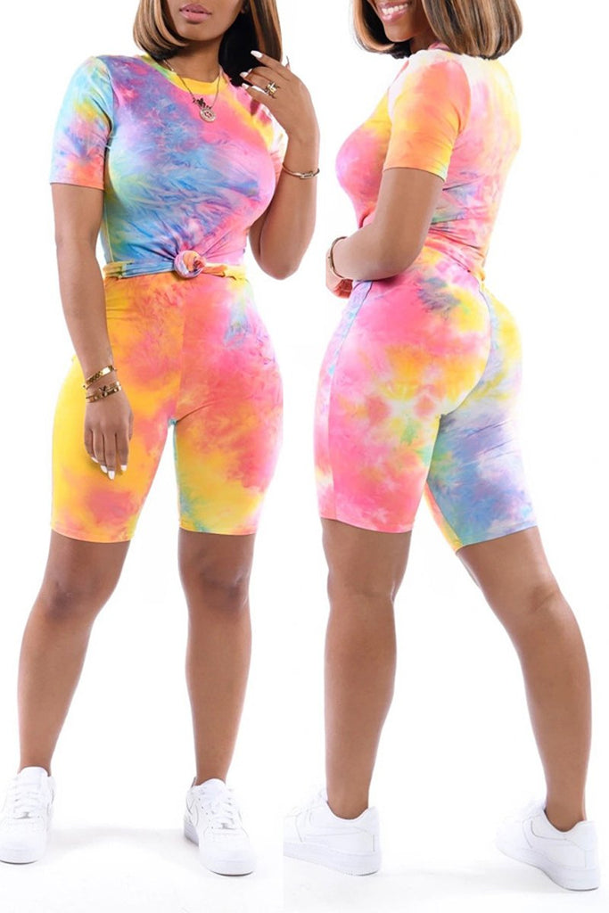 Tie Dye Short Sleeve Two Piece Outfits