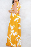 Deep V Neck Print Open Back Sleeveless Maxi Dress