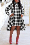 Casual Plaid Print High Low Dress - WHATWEARS