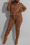 Hooded Collar Leopard Print Drawstring Top & Pants