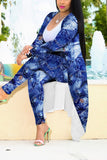 Plus Size Digital Print Cardigan & Pants
