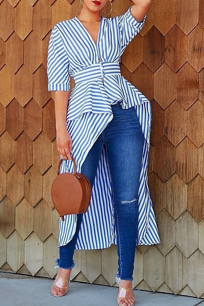 Casual Stripe Print V-neck Asymmetric Hem Blouse