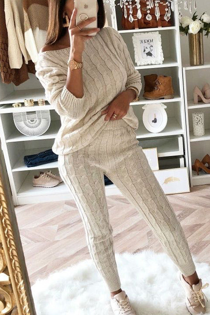 Solid Color Skew Neck Sweater Two Piece Sets