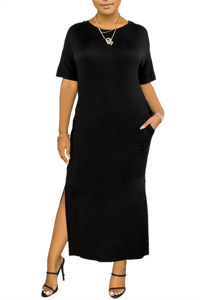 Solid Color Plus Size Slit Pocket Dress
