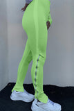 Solid Color Side Zipper High Waist Pants