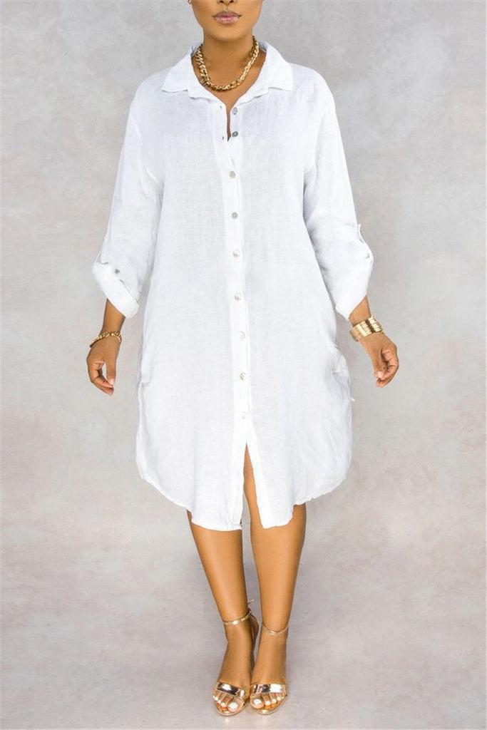 Button Up Solid Color Casual Dress