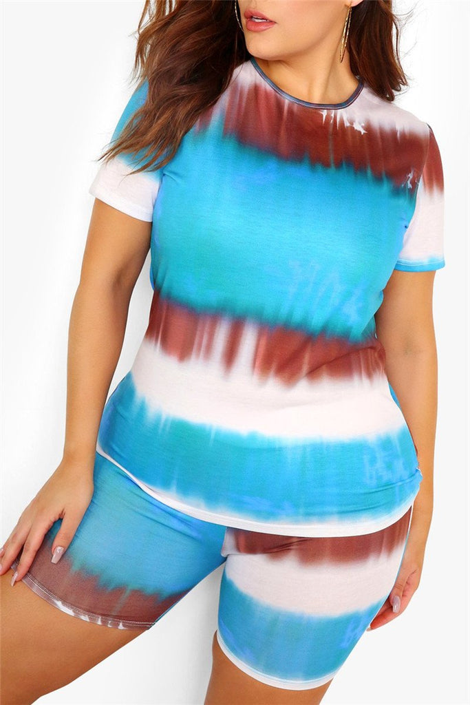 Tie Dye Print Plus Size Two Piece Sets