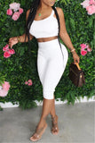 Solid Color High Waist Sleeveless Two Piece Sets