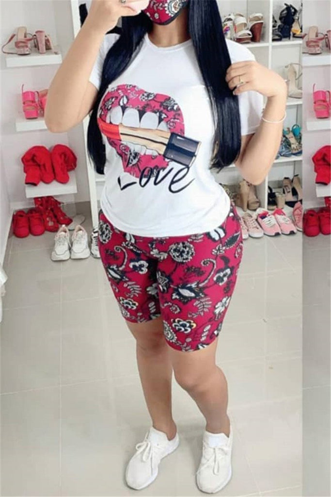 Lip Print Short Sleeve Two Piece Sets