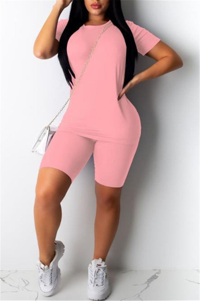 Solid Color Short Sleeve Two Piece Sets