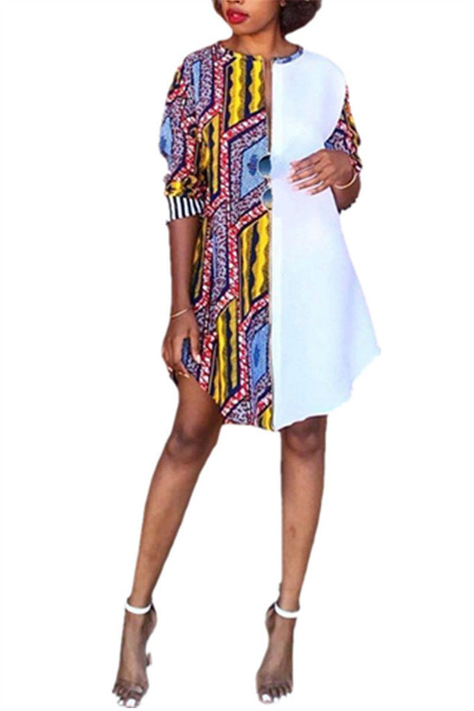 Plus Size Tribal Print Casual Dress
