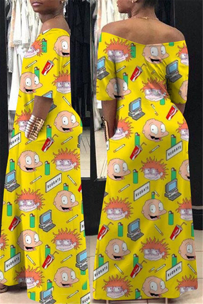 V Neck Cartoon Print Casual Maxi Dress