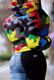 Plus Size Colorful Camouflage Print Zipper Jacket
