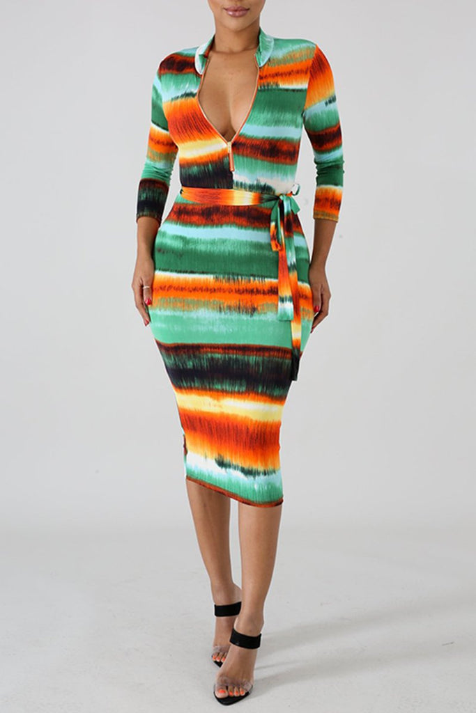 Tie Dye Long Sleeve Zipper Collar Belted Dress
