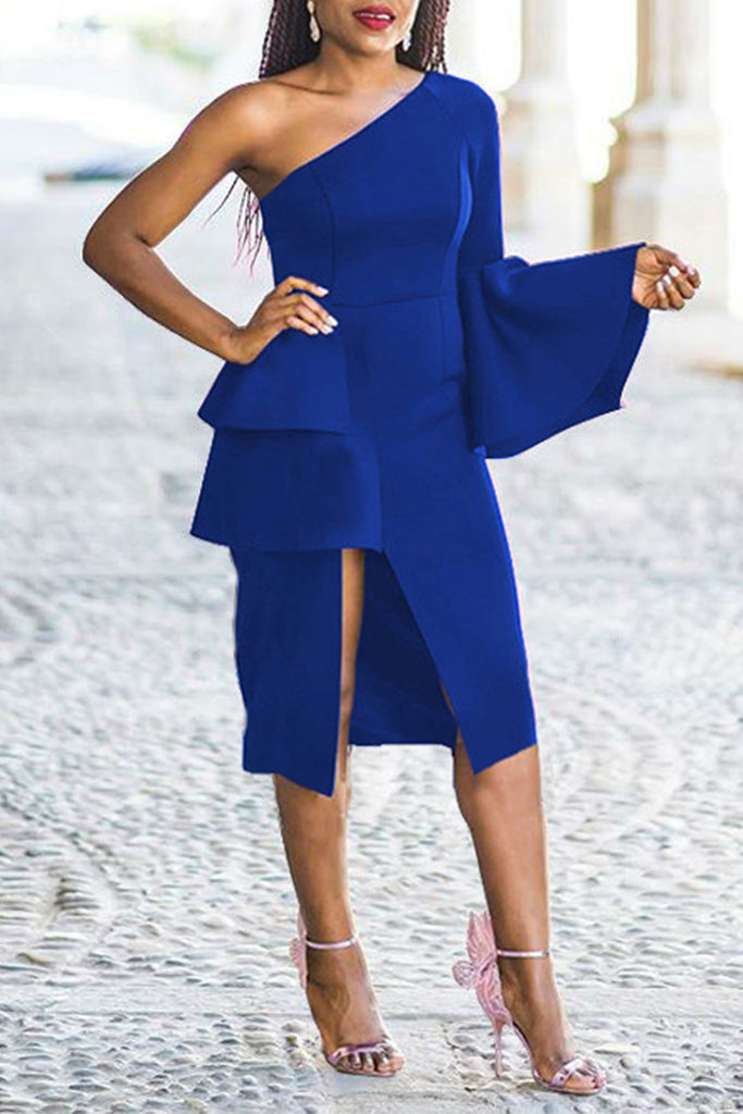 Off One Shoulder Solid Color Irregular Bodycon Dress