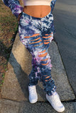 Tie Dye Denim Hole Distressed Pants