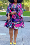 Plus Size V-neck Letter Print Belted Dress