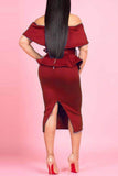 Fold Over Peplum Waist Solid Belted Two Piece Midi Dress