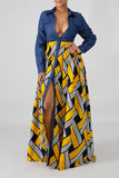 Denim Button Geometric Print Maxi Dress