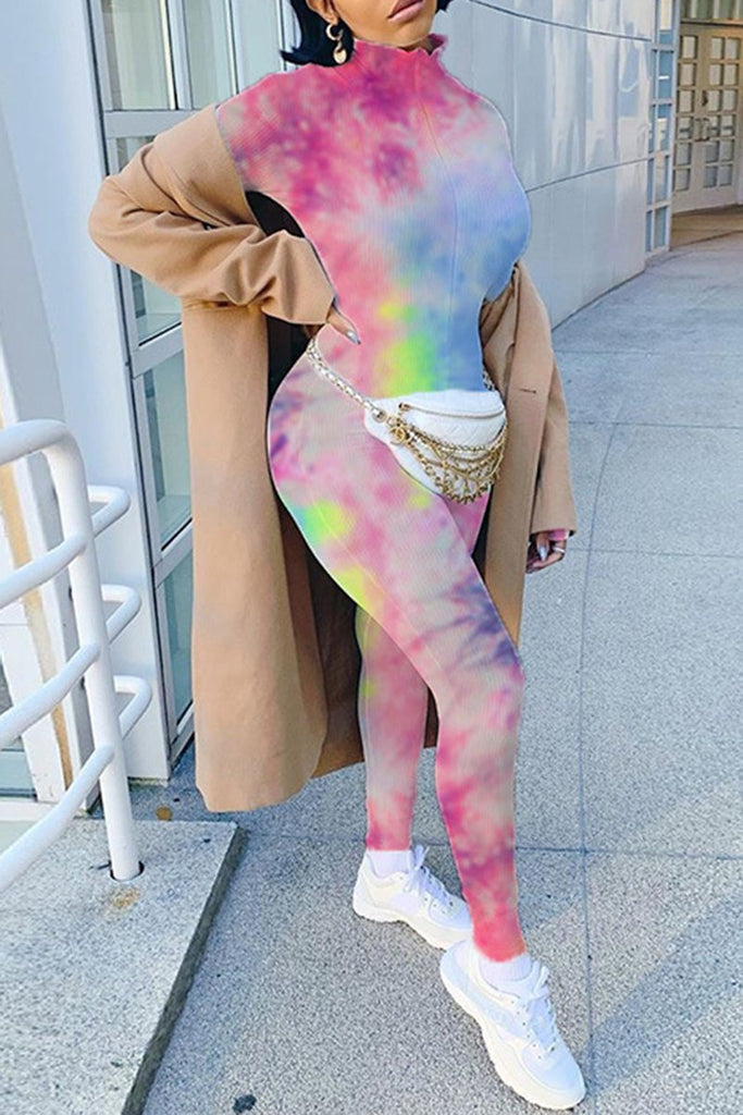 Rib Tie Dye Zipper Collar Bodycon Jumpsuit