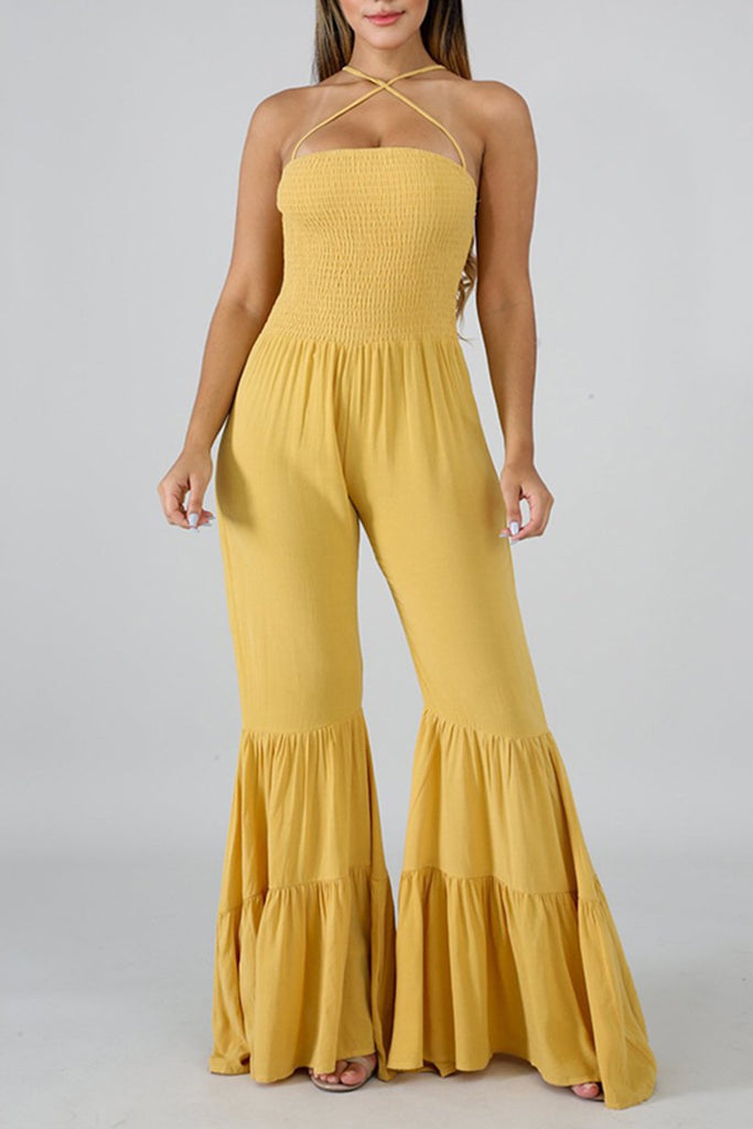 Flared Hem Tassel Sleeveless Casual Jumpsuit