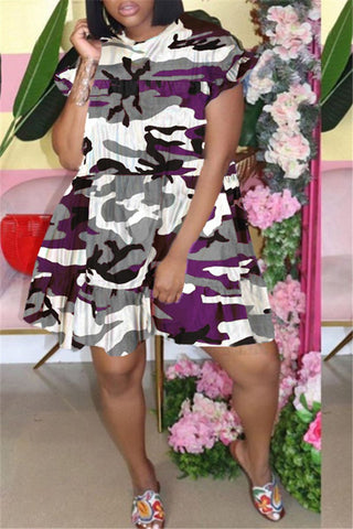Whatwears coupon: Camouflage Print Plus Size Ruffled Dress