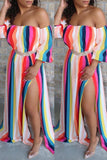 High Slit Rainbow Striped Off The Shoulder Dress