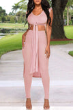 Sleeveless Solid Color Tie Up Two Piece Sets