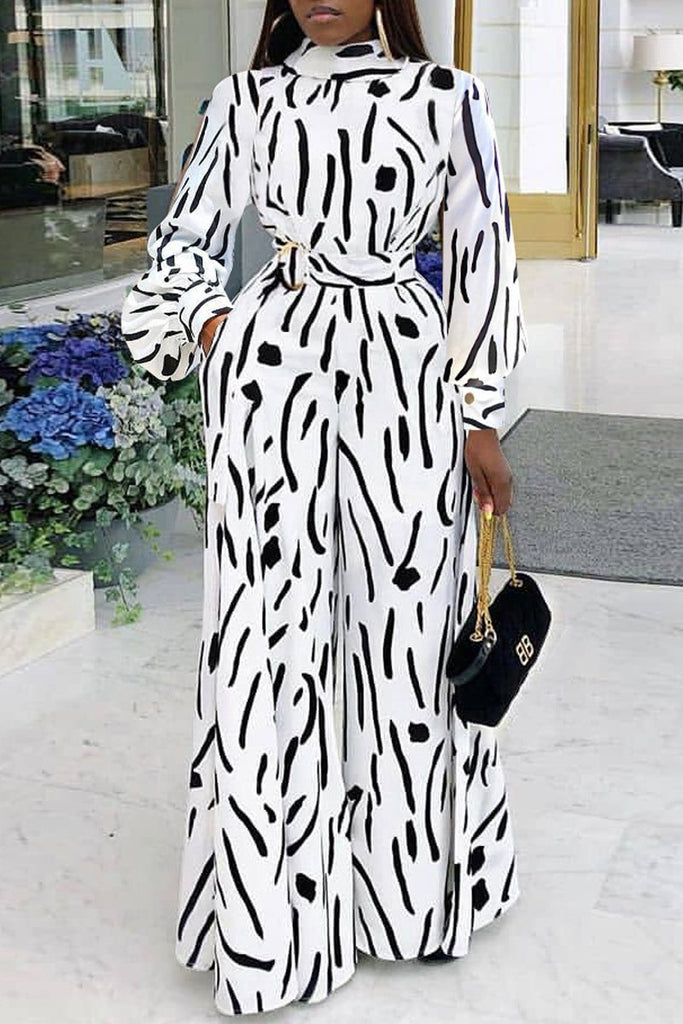Casual Long Sleeve Print Belted Jumpsuit