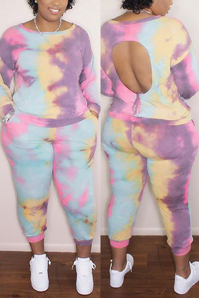 Tie Dye Hollow Out Tie Up Top & Pants