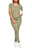 Wrinkled V-neck Solid Color Two Piece Sets