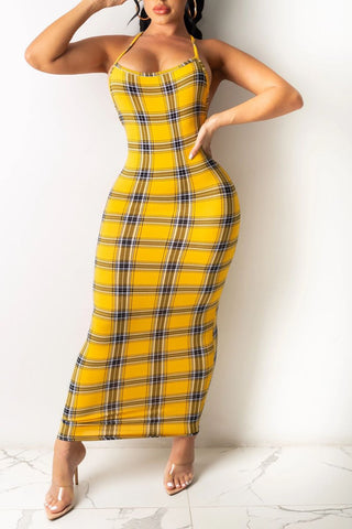 Plaid Print Hang Neck Open Back Maxi Dress, whatwears  - buy with discount
