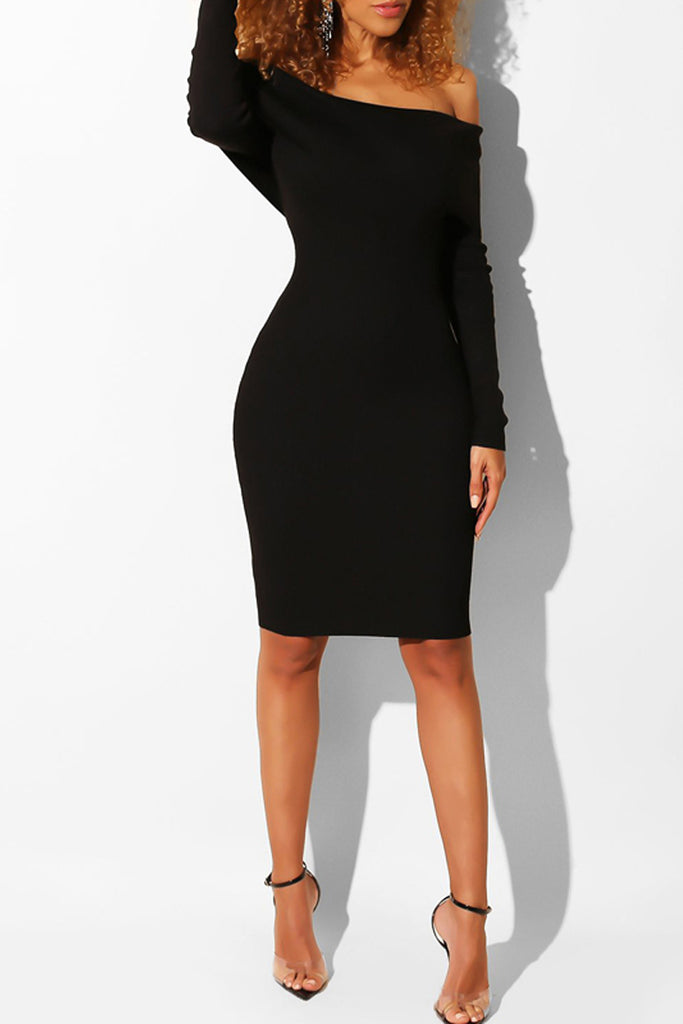 Solid Color Rib Off The Shoulder Casual Midi Dress